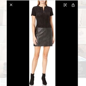 Julia Jordan Vegan Leather/Suede Shift Dress